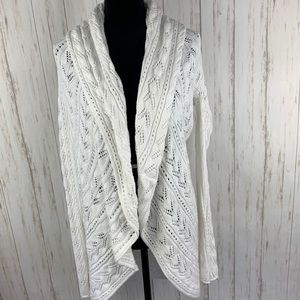 CABI White Circle Knit Cardigan Sweater Size M